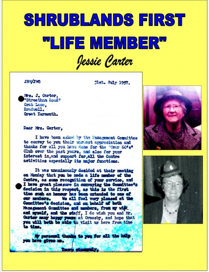 Letter to the first life member (Jessie Carter) of Shrublands Youth & Adult Centre
