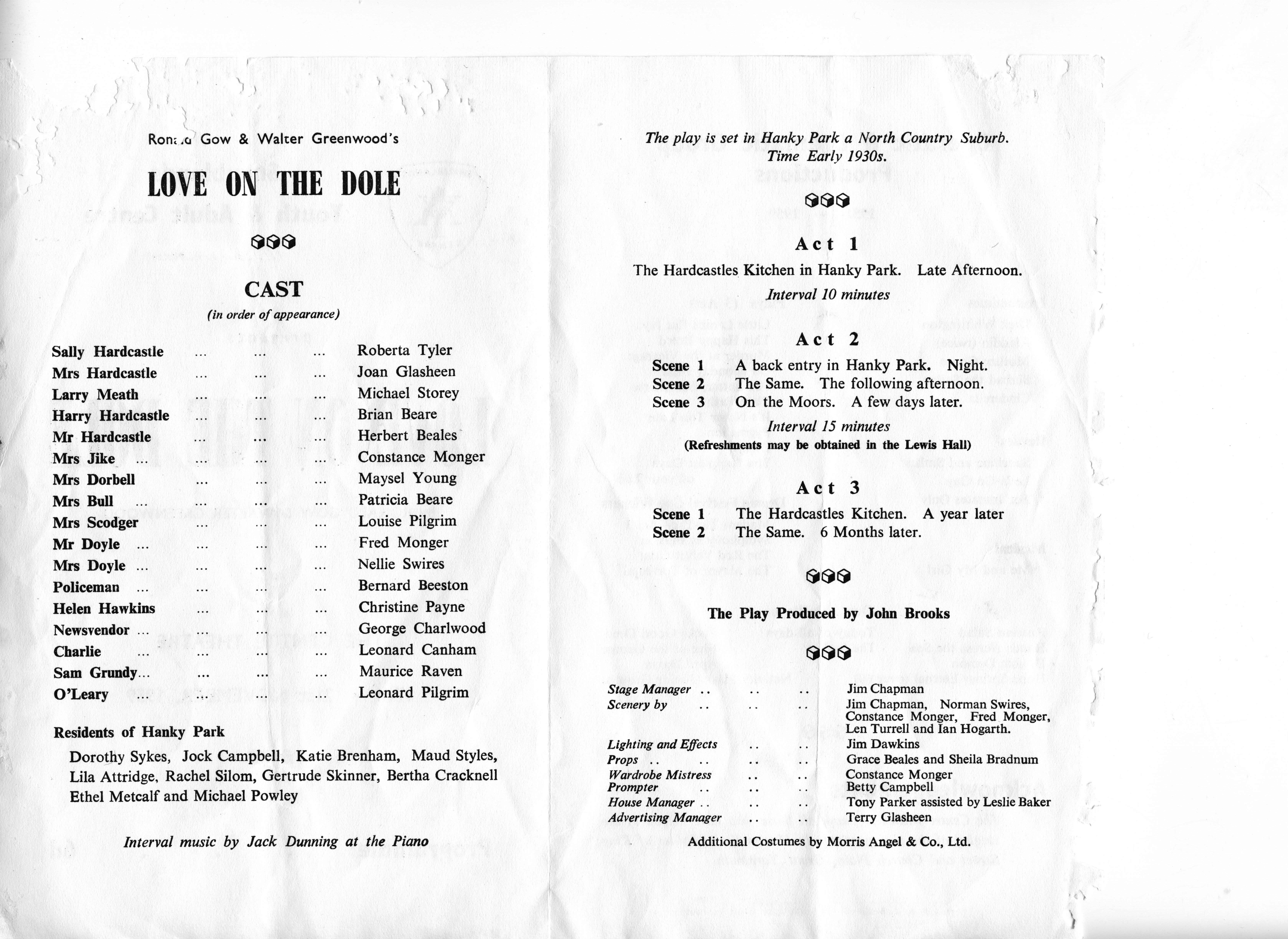 Programme for Love on the Dole theatre group production
